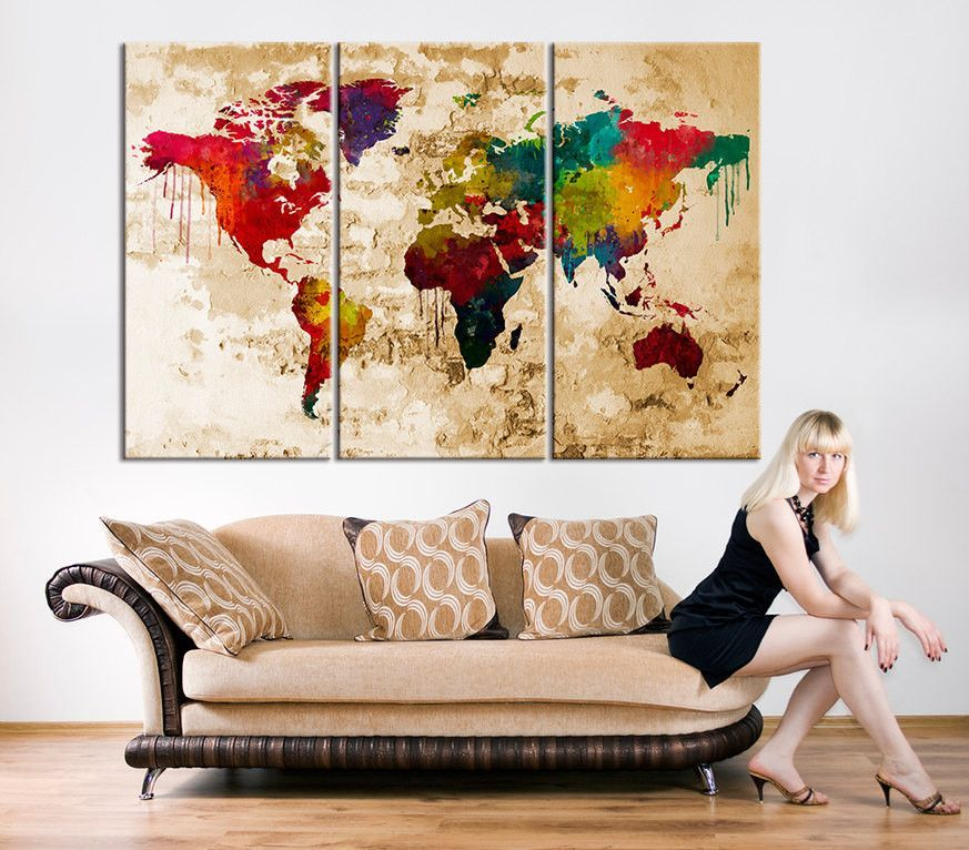 Canvas Print - Watercolor World Map Art - Watercolor 3 Panel World ...