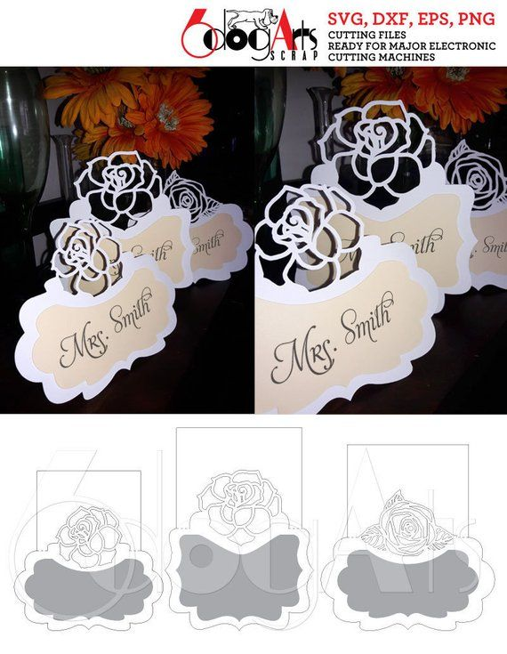 3 Rose Lace Wedding Table Place Card Templates Digital Vector Cut