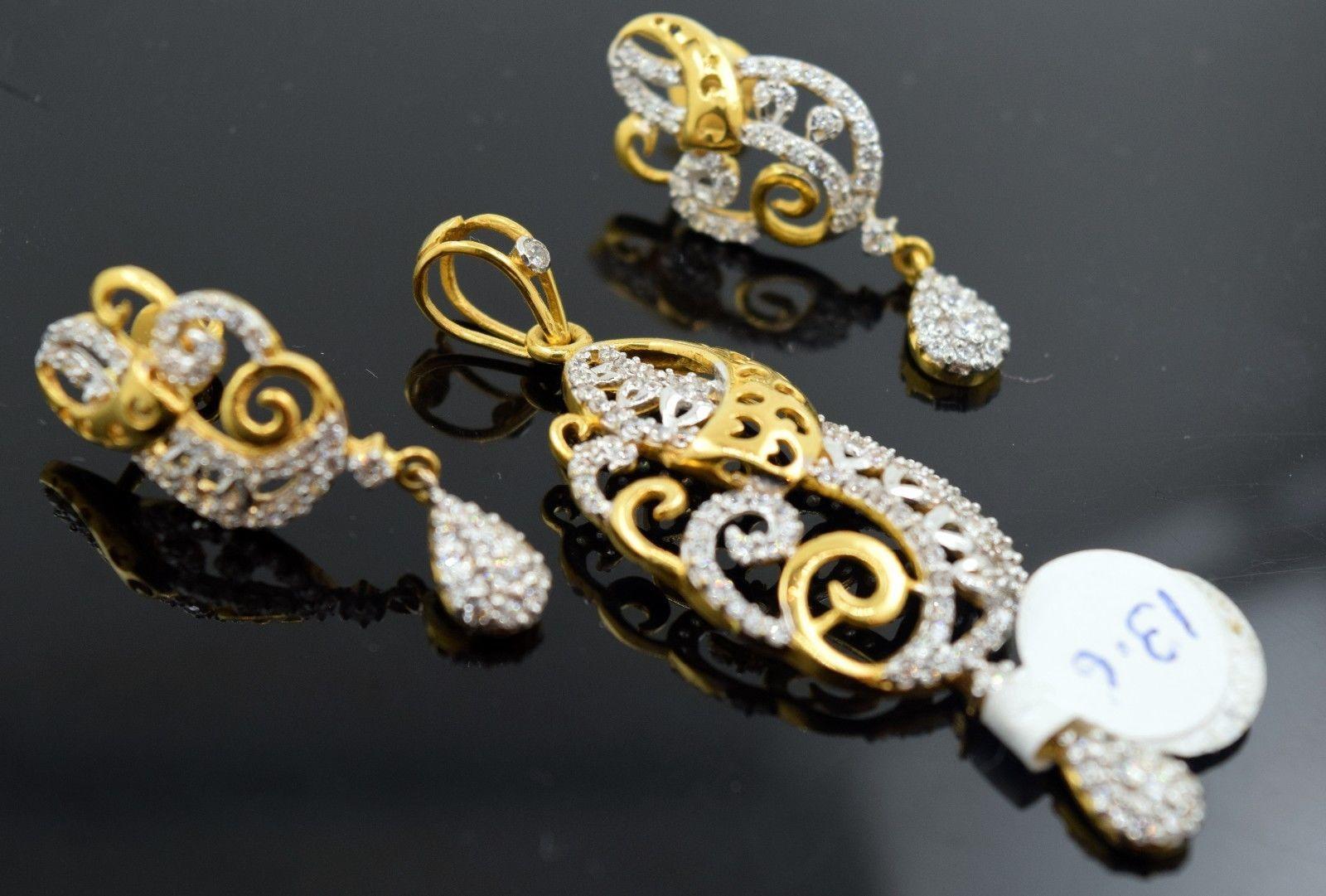 22k 22ct Solid Gold ELEGANT STONE Pendant Set EARRING S18 gift 22k