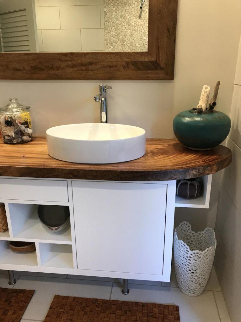 Natural Monkeypod Slab Bathroom