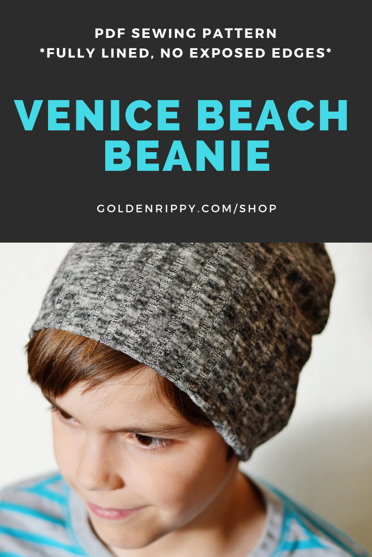 The Venice Beach Beanie Pattern includes nine different sizes, to fit everyone in your family! Whether you're sewing for a toddler, a preemie or a really picky guy, this pattern will fit everyone on your list. You'll be able to sew a quick hat for snow days, chilly days, spring mornings or when you want to skip washing your hair for a day (or two, or three… I promise I won't tell anyone).