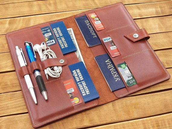 Family passport holder family travel wallet leather passport