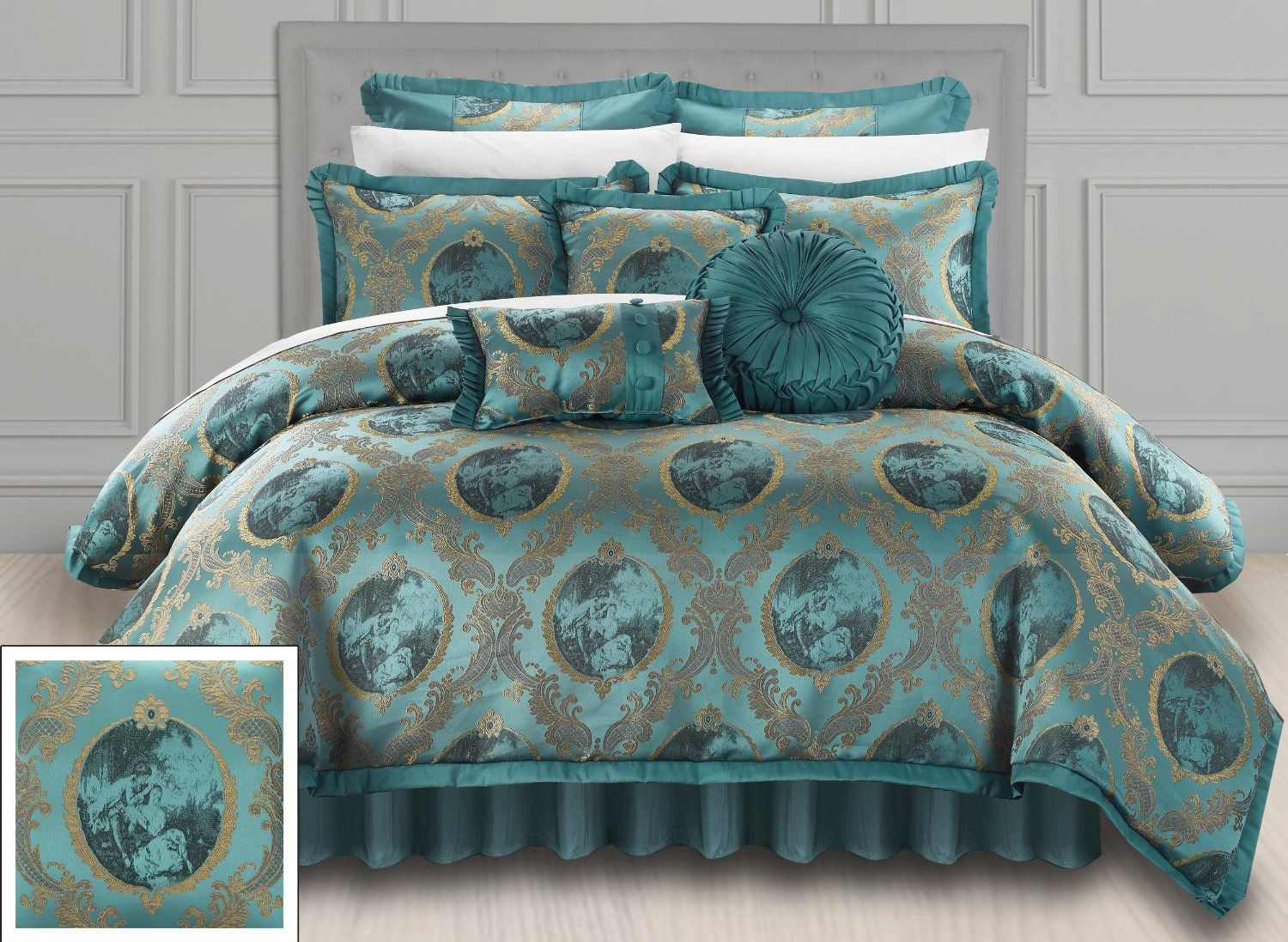 twin solid full light xl ruffle rsrs teal queen comforter set