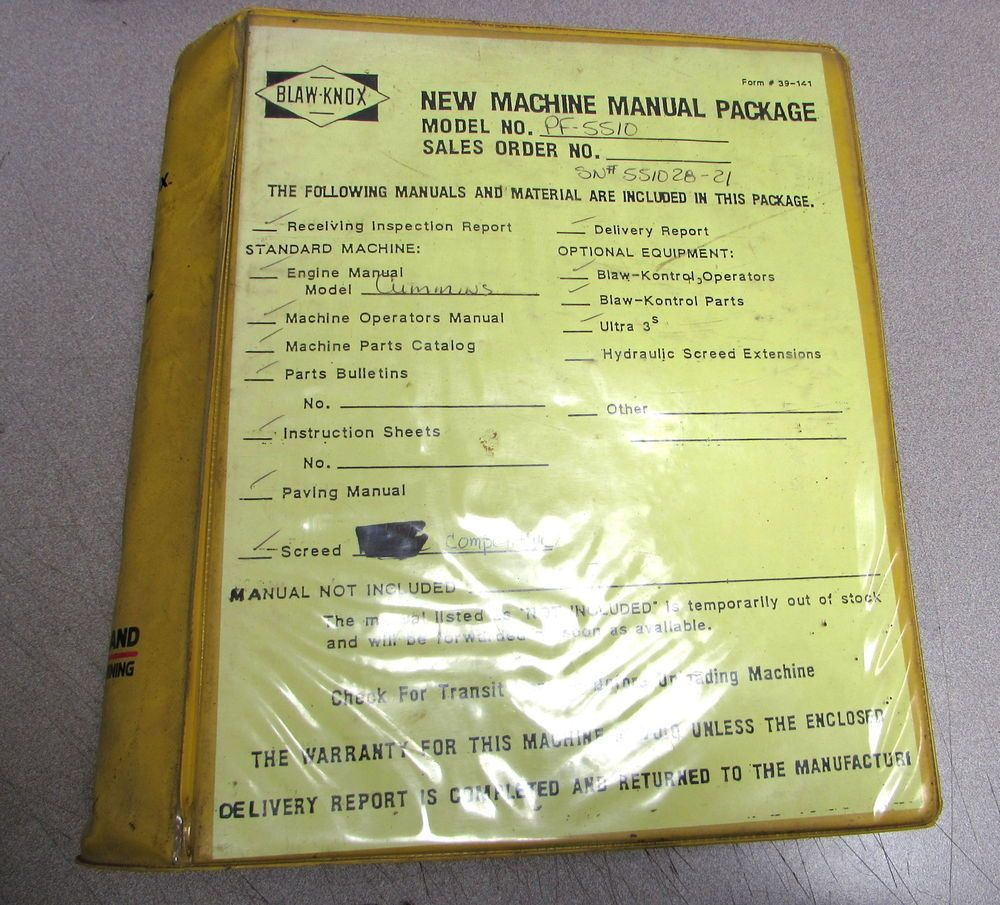 eBay #Sponsored Blaw-Knox PF-5510 Paver Finishers Service Repair Manual Set  Ingersoll
