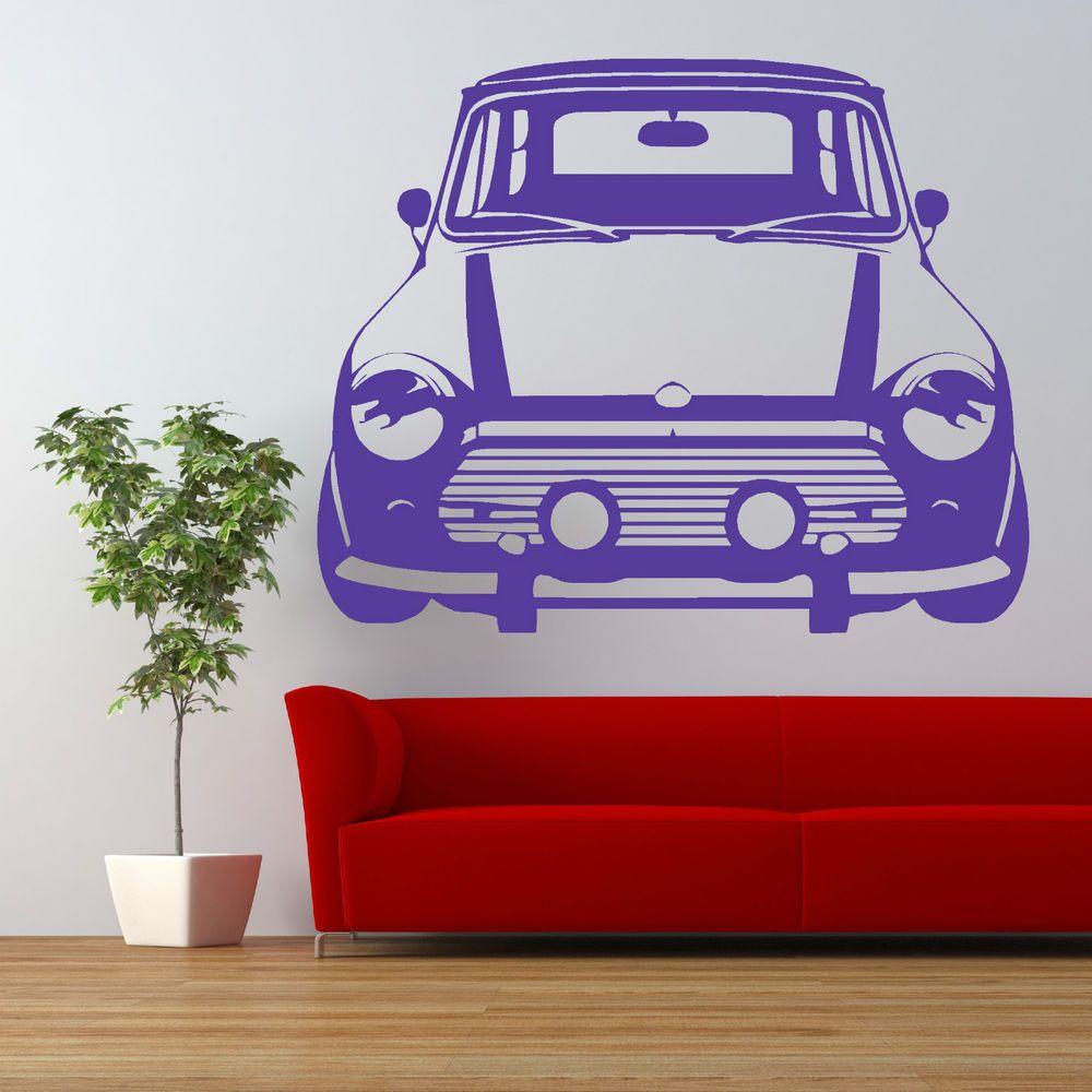 Vintage Mini Cooper Car Wall Art Sticker Vehicle Room Decal Car Wall Art Room Decals Sticker Wall Art [ 1000 x 1000 Pixel ]