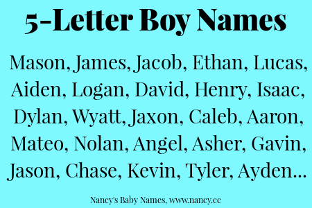 5 Letter Boy Names | Baby Names   Helpful Info | Boy names, Baby