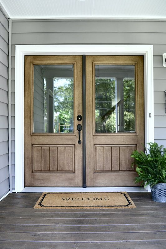 Wood Front Doors Farmhouse Exterior