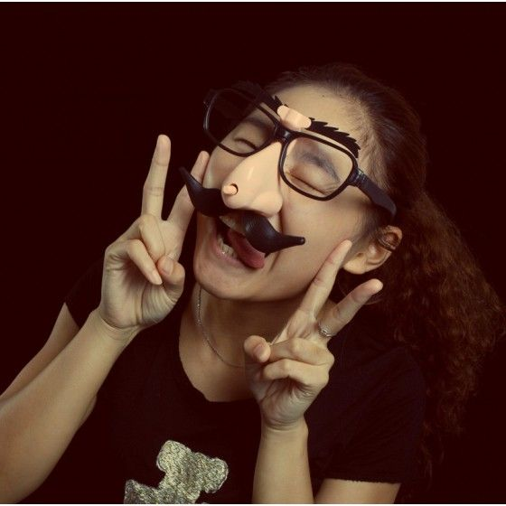 Funny Glasses With Big Nose Moving Eyebrows Mustache For