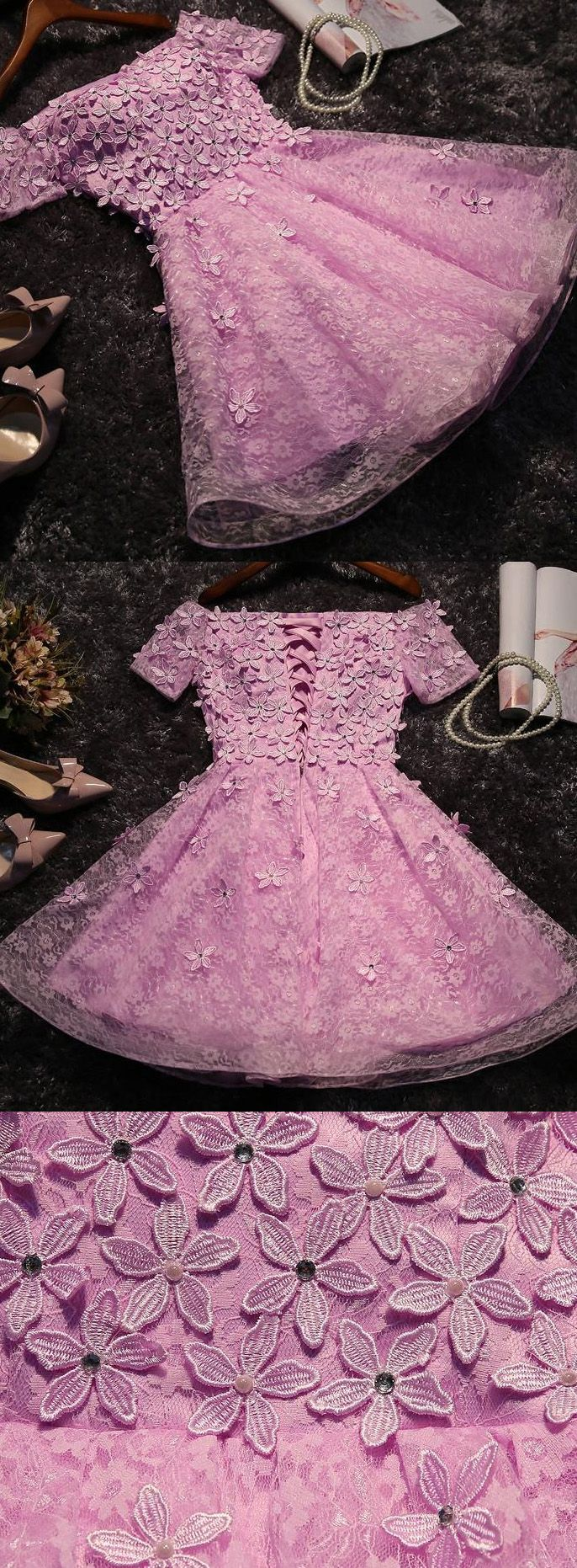 Mini homecoming prom dress short lilac dresses with lace up flower