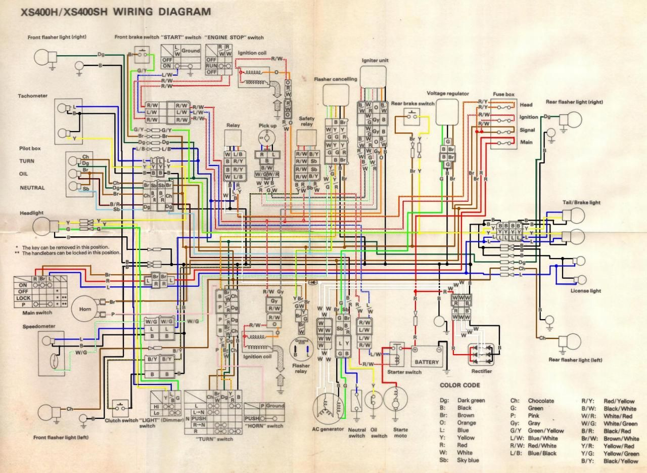 Wiring Diagram Xs400 Xs 400 Special Complete 1981 Yamaha Tt500 Ignition 1979 Motorcycle Workshop Honda Cars