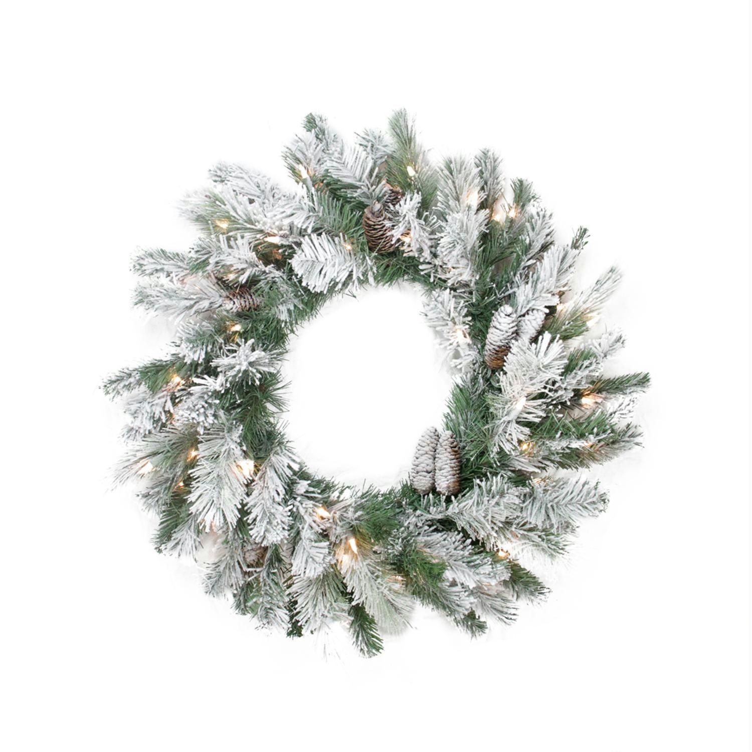 30 Pre Lit Flocked Victoria Pine Artificial Christmas Wreath  Clear