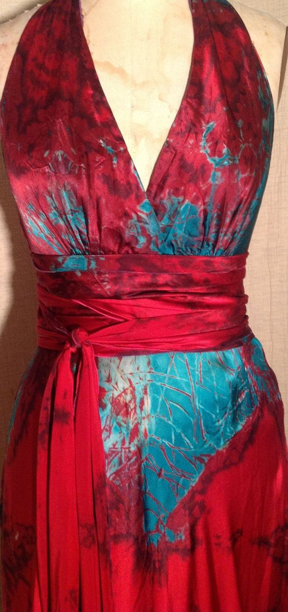 Red Turquoise Silk Halter Wedding Dress Dress W Sash Long