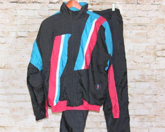 3ca69efda3215d True Vintage 80s Men Nylon Wind Windbreaker Track Jogging Gym Exercise Suit  Jacket Coat Pant Set Turquoise Black Cranberry White L Large