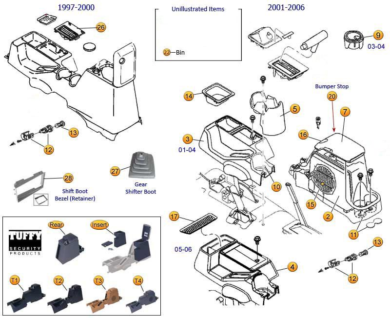 Console Parts For Wrangler TJ