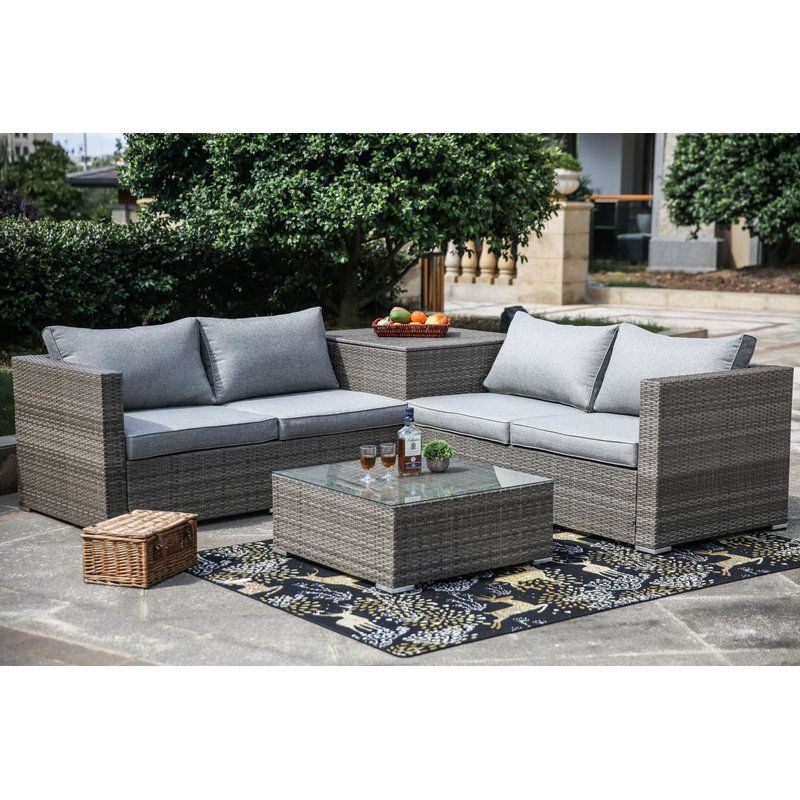 Vankirk 4 Piece Sectional Seating Group With Cushions Outdoor Furniture Sets Gray Patio Furniture Outdoor Furniture