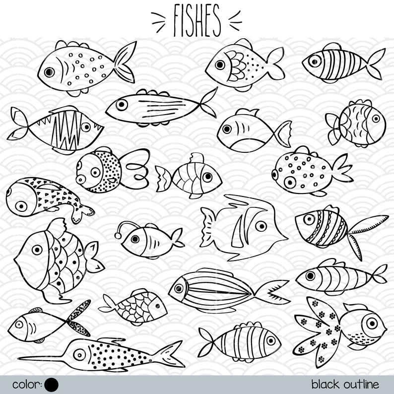 Hand Drawn Fish Clip Art Tropical Fish Outline Illustration Bundle Small Puffer Fish Vector Graphics Png Svg Dxf Eps Pdf In 2021 Fish Outline Drawn Fish Fish Drawings