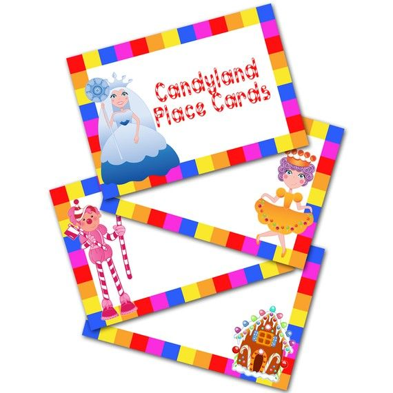 Candyland Fun Printable Place Cards DIY File by PixelPerfection