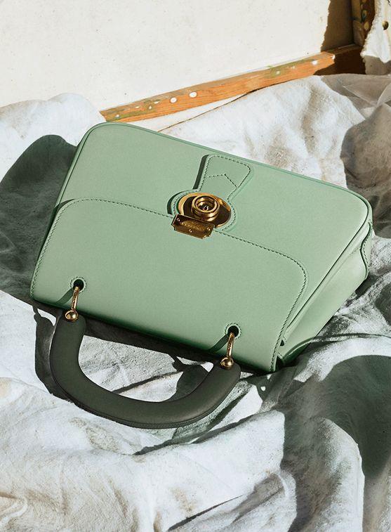 The Burberry Medium DK88 Top Handle Bag in new celadon green.