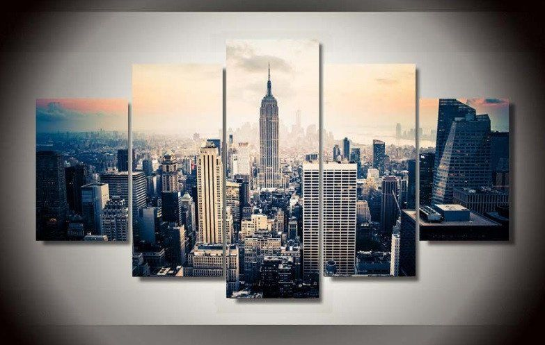 New York City Canvas 5 Pcs Wall Art New York Canvas Canvas Wall Decor City Picture Frames