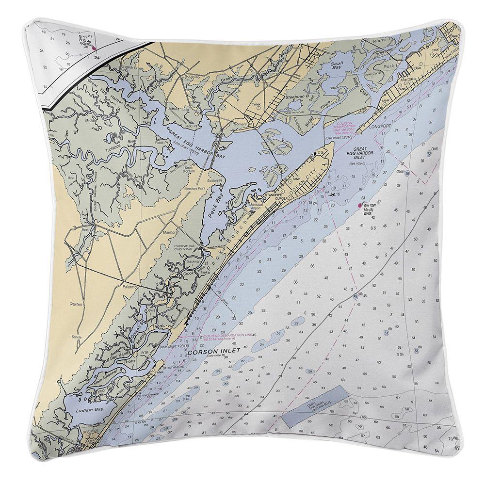 NJ Ocean City, NJ Nautical Chart Pillow Throw pillows