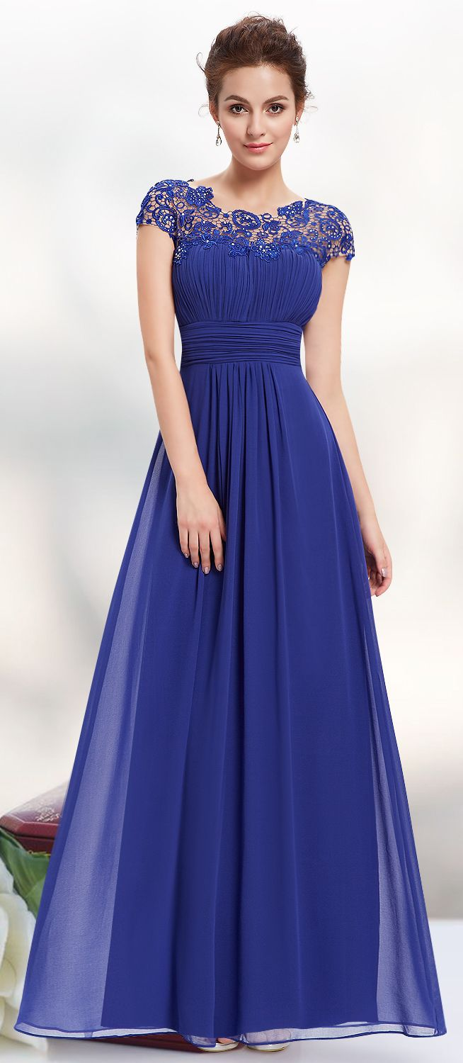Lace Cap Sleeve Evening Gown Long Prom Dresses Royal Blue And Prom