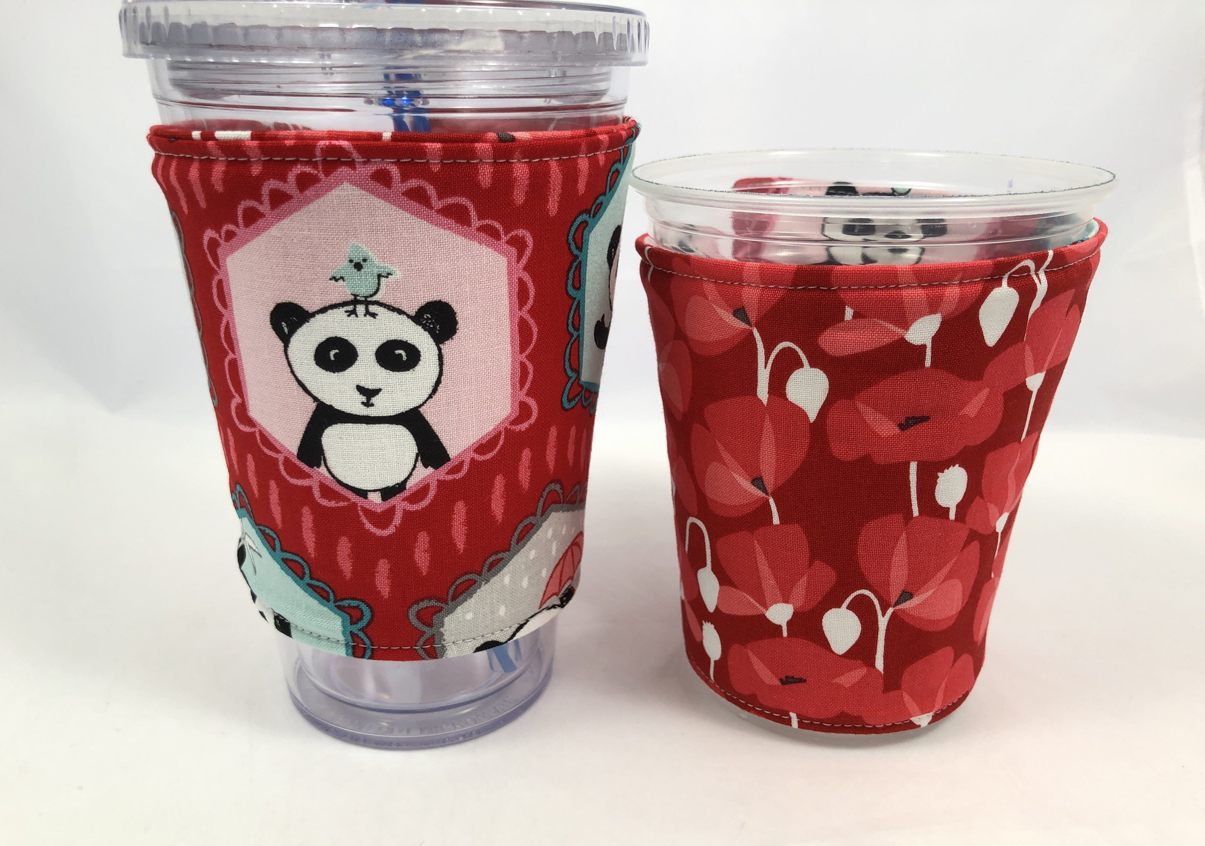 Panda Bear Reversible Coffee Cozy, Red Insulated Iced