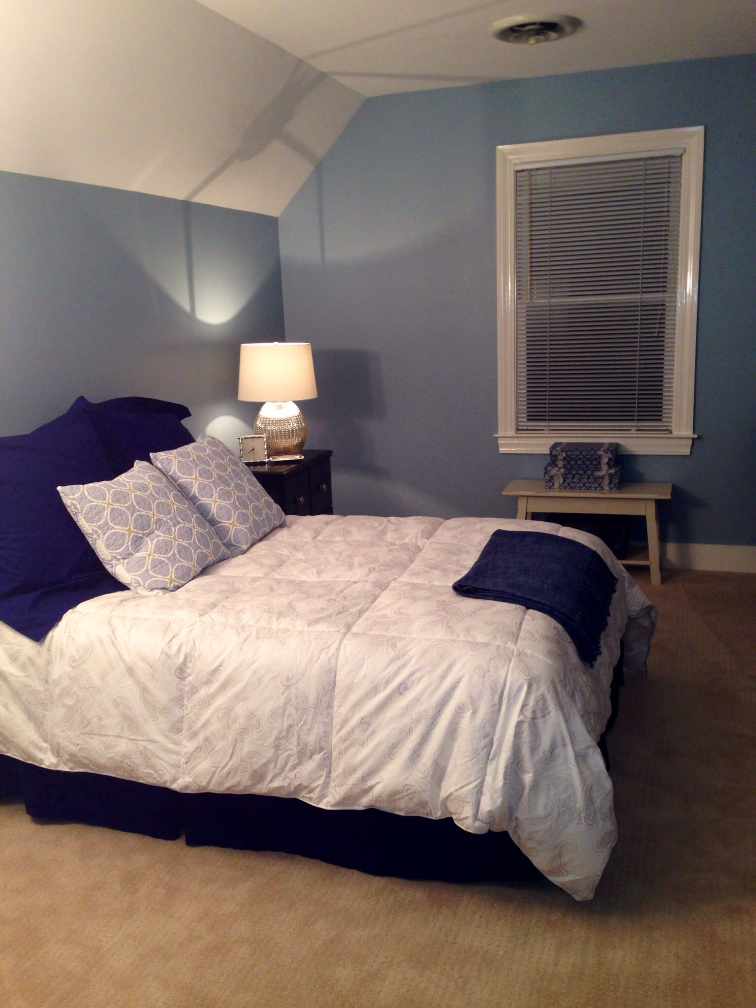 Blue Bedroom Furniture: Guest Bedroom Redo SW Dockside Blue On Walls. Black