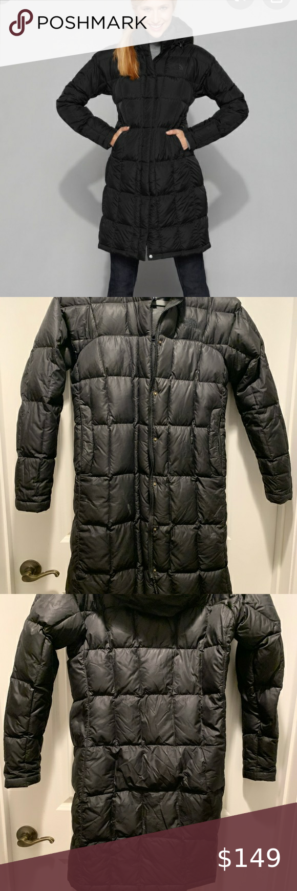 Black North Face Down Hooded Puffer Coat in 2020 Black