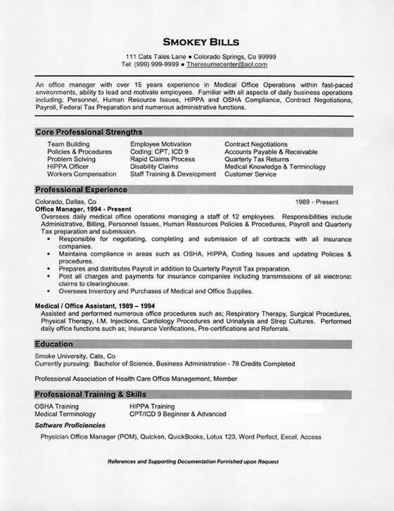 Medical Office Manager Resume Example – Medical Billing Manager Job Description