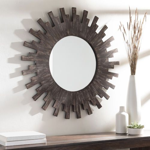 Sun Brown 36-Inch Wall Mirror - Traditional Wall Mirror - Dimensions: 36-Inch x 36-Inch - Hanging Hardware: Key-Hole - Color :Brown - Frame: Wood, Frame (substrate): Manufactured Wood Surya - SNU001-3636 | Surya SNU001-3636 Sun 36 in. Wall Mirror in Brown, Traditional | Bellacor