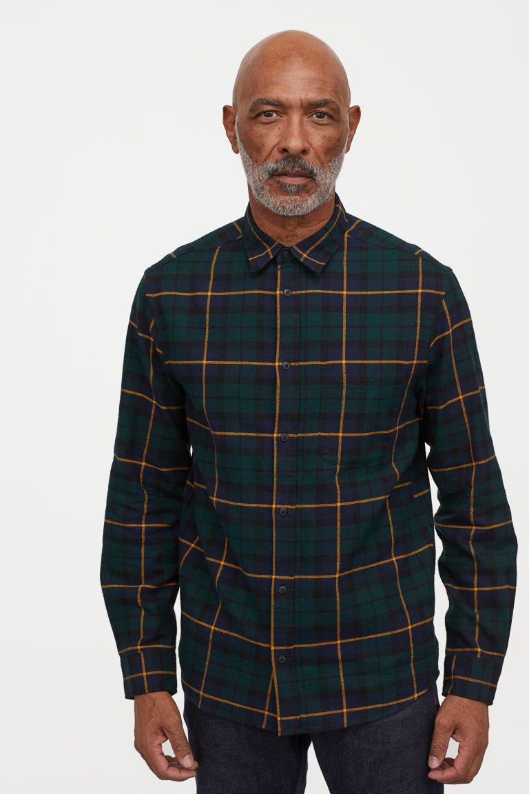Camisa de franela Verde oscuroCuadros HOMBRE | H&M ES