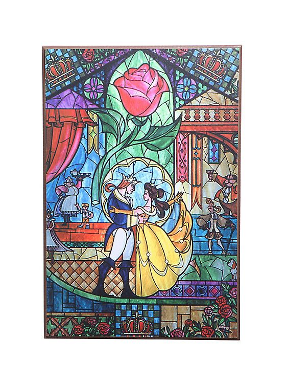 Disney Beauty And The Beast Stained Glass Dance Wood Wall Art | De ...