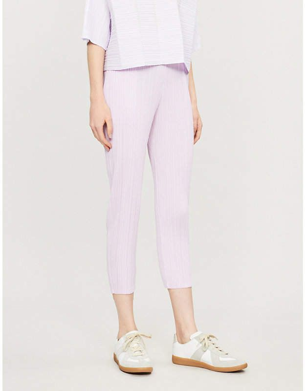 9739055361 Pleats Please Issey Miyake Cropped high-rise pleated crepe trousers ...