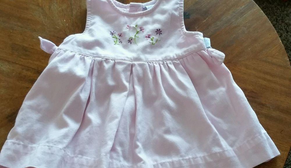 First Moments Infant Girls 3 Months Pink Corduroy Jumper Embroidered w Flowers #FirstMoments #DressyEverydayHoliday