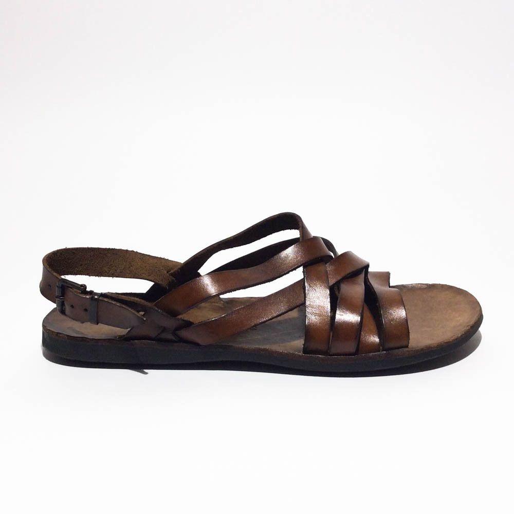 Brador sandalo pelle mogano fondo cuoio made in italy art23506