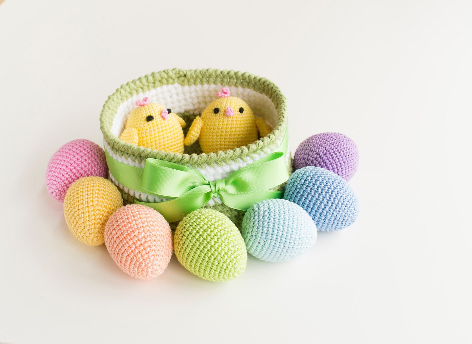 Crochet easter basket with 7 colorful eggs and 2 crochet chickens crochet easter basket with 7 colorful eggs and 2 crochet chickens babys first easter gift negle Image collections