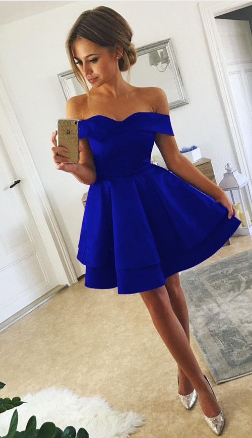 d22b632c50 Royal Blue Homecoming Dresses V-neck Off The Shoulder Prom Short Dress 2018