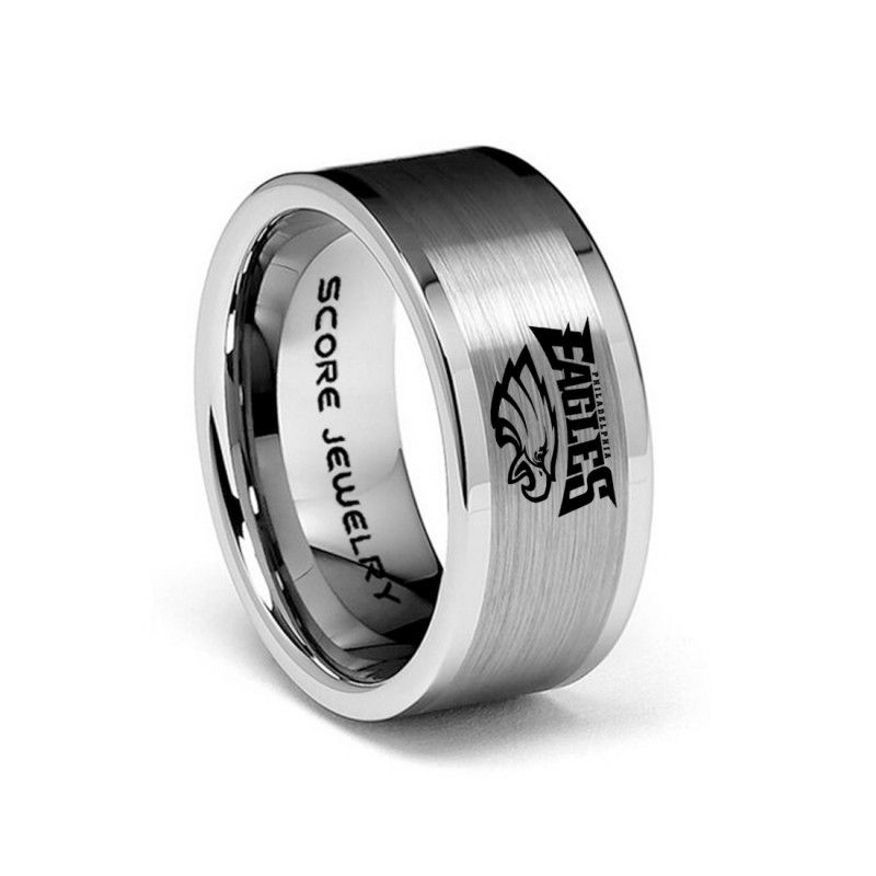 Any Team 8mm Tungsten Band With Flat Edge And Brushed