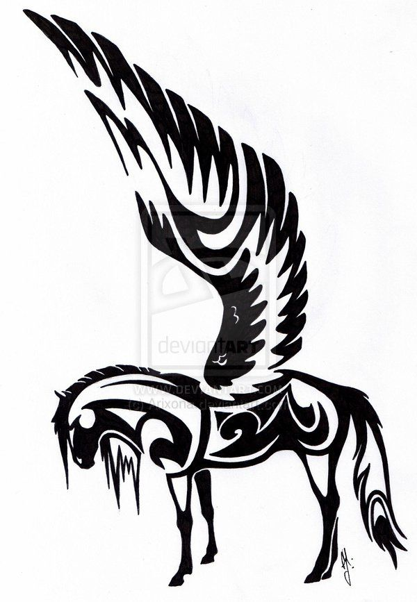 pegasus of tribal by on deviantart horse tattoos pinterest pegasus. Black Bedroom Furniture Sets. Home Design Ideas