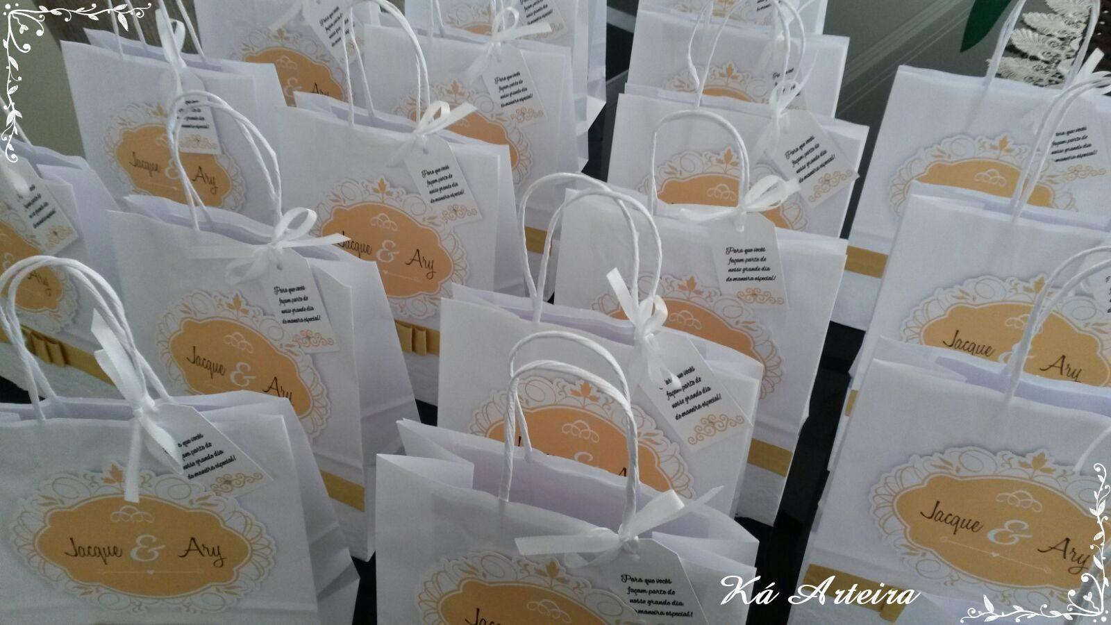 sacola decorada para padrinhos