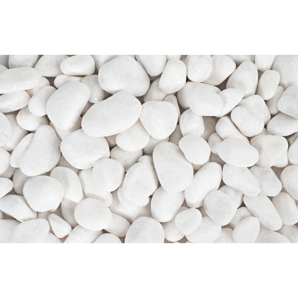 Rain Forest 1 In To 2 In 20 Lb Medium Snow White Pebbles Rfswp2 20 The Home Depot White Landscaping Rock Landscaping With Rocks White Pebble Garden