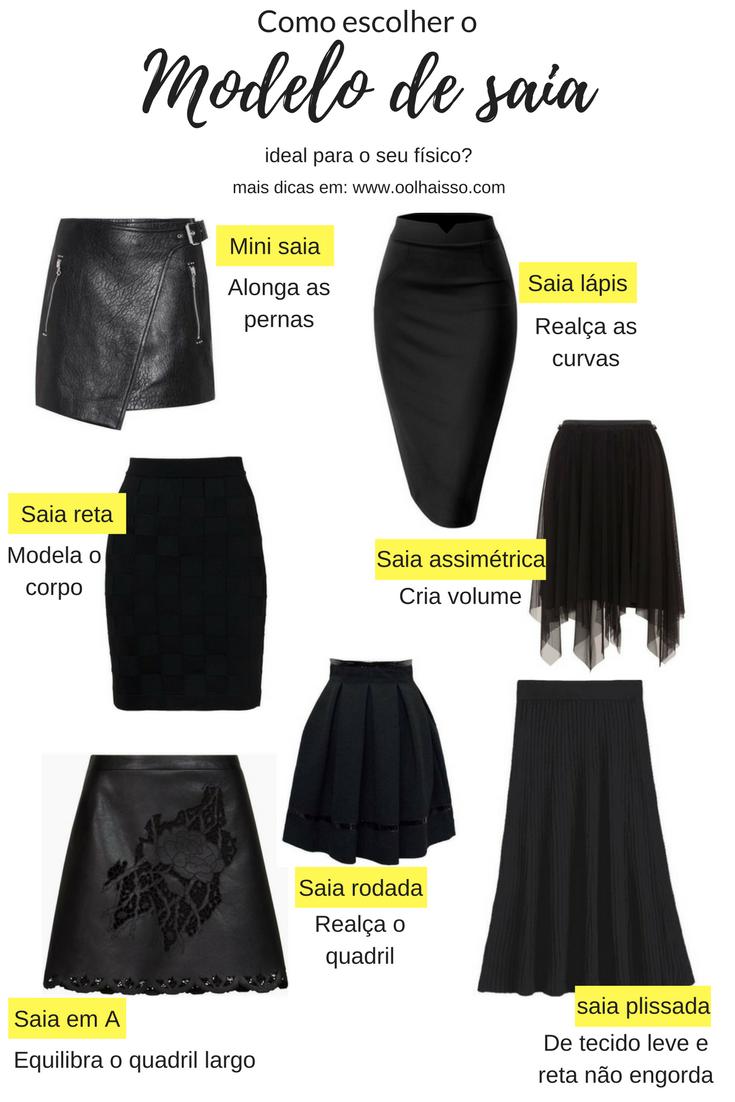 beeb776fce Como escolher o modelo de saia ideal para o seu tipo fisico. guia completo  da saia feminina. saia lapis