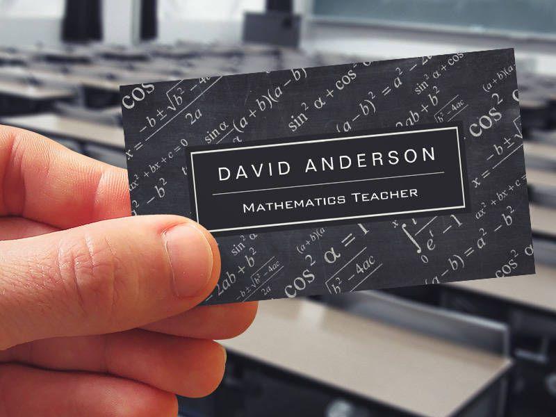 School Math Teacher Mathematics Formula Chalkboard Business Card Templates