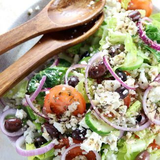 Authentic Greek Salad - My PCOS Kitchen - A delicious low carb and gluten free Greek salad topped with a homemade Greek salad dressing. salad