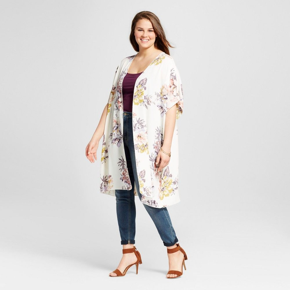 Women's Plus Size Floral Kimono Layering Top Ivory 1X - 3Hearts ...
