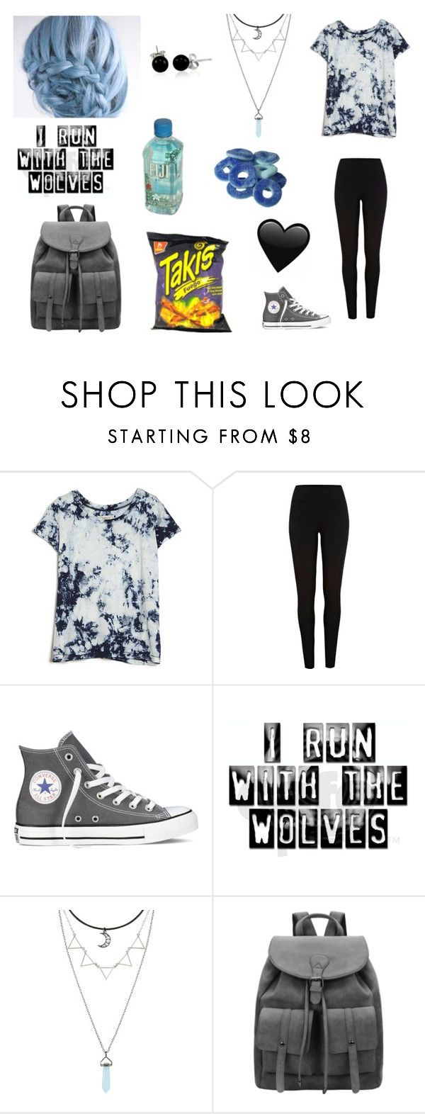 """""""Untitled #154"""" by nightstalker ❤ liked on Polyvore featuring Current/Elliott, River Island, Converse, Bling Jewelry and Fuego"""