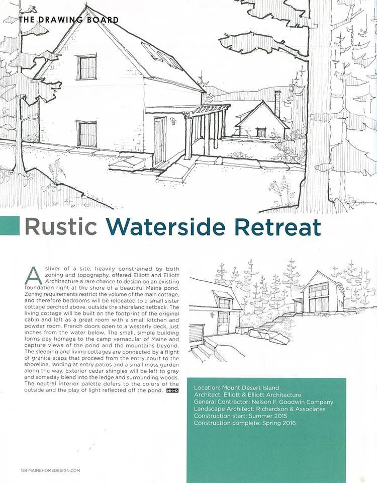 June S Issue Of Maine Home Design Features Some Sketches Of Our Waterside Retreat Slated To Start Construction This Summe Cabin Kitchens Retreat House Design