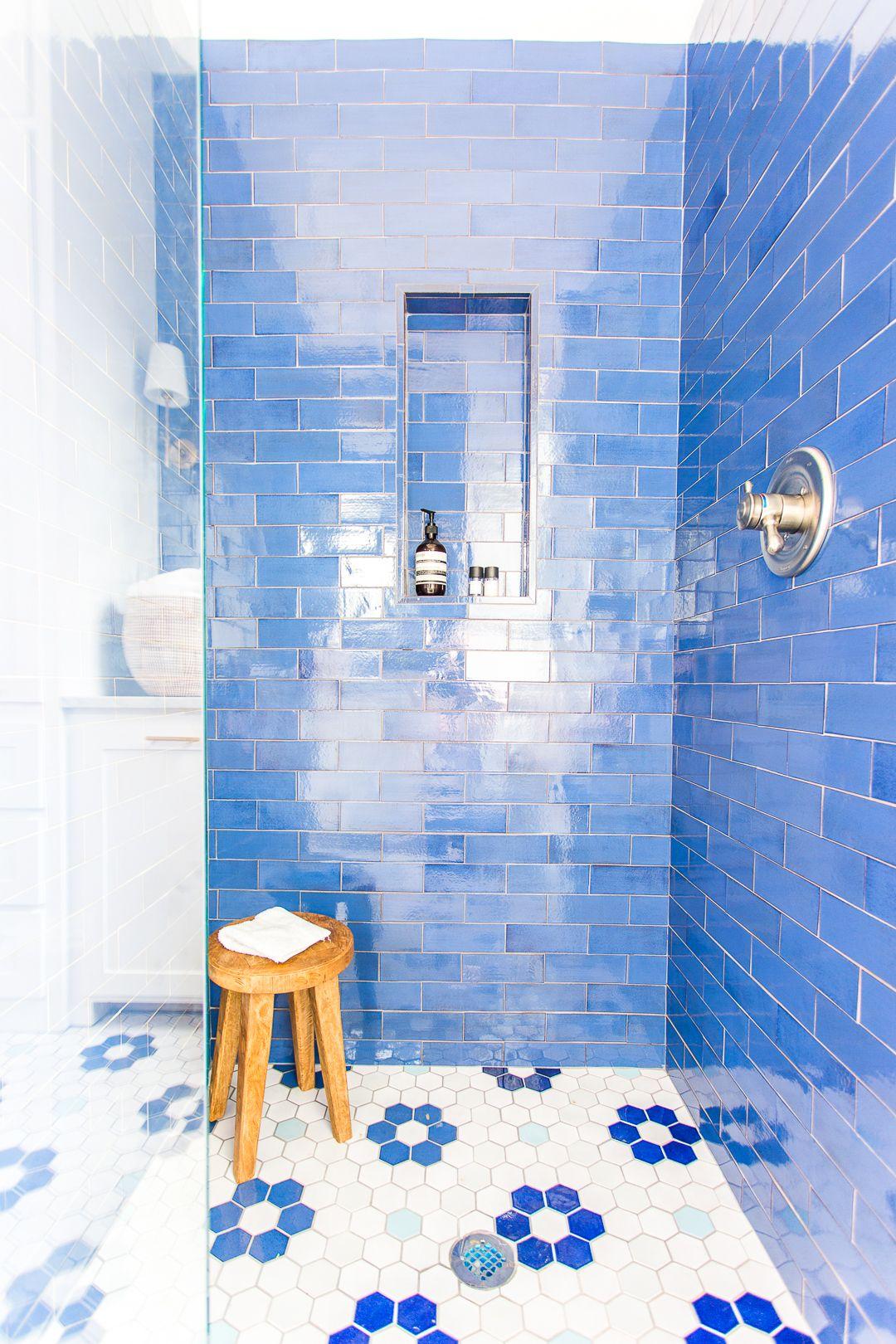 Lake House Master Suite Reveal Pencil Shavings Studio Mosaic Bathroom Blue Bathroom Tile Bathroom Floor Tiles