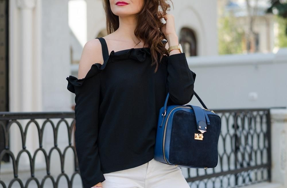 Ruffle Off The Shoulder Black Top / Made In Italia Suede