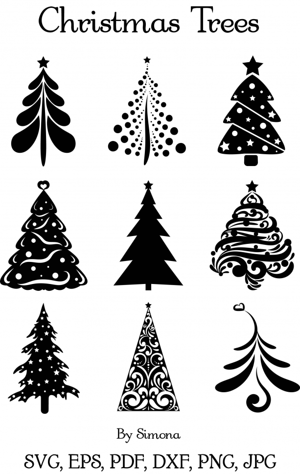 Christmas Trees Digital Clip Art Vector Designs Click To Buy Included Commercial Use Licenc In 2020 Christmas Tree Stencil Christmas Stencils Christmas Cards Handmade